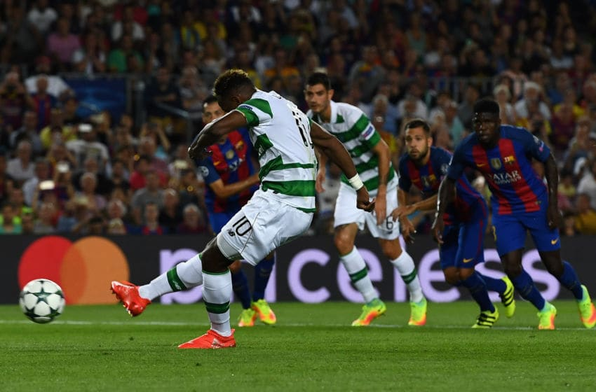 BARCELONA, SPAIN - SEPTEMBER 13: Moussa Dembele of Celtic misses a penalty during the UEFA Champions League Group C match between FC Barcelona and Celtic FC at Camp Nou on September 13, 2016 in Barcelona, Spain. (Photo by David Ramos/Getty Images)