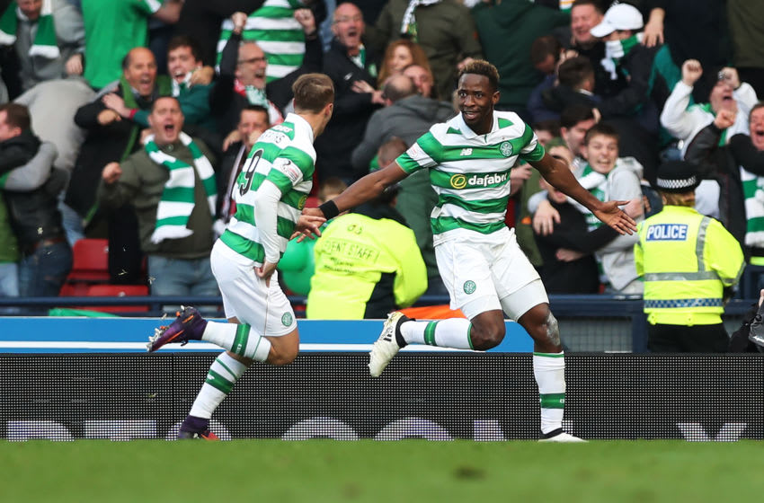 GLASGOW, SCOTLAND - OCTOBER 23: Moussa Dembele of Celtic celebrates with Leigh Griffiths of Celtic after he scores through the legs of Matt Gilks of Rangers during the Betfred Cup Semi Final match between Rangers and Celtic at Hampden Park on October 23, 2016 in Glasgow, Scotland. (Photo by Ian MacNicol/Getty Images)