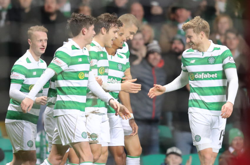 Celtic's Erik Sviatchenko (centre left) celebrates scoring his side's first goal of the game with teammates during the Ladbrokes Scottish Premiership match at Celtic Park, Glasgow. (Photo by Jane Barlow/PA Images via Getty Images)