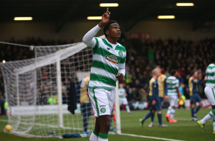 AIRDRIE, SCOTLAND - FEBRUARY 07: Dedryck Boyata celebrates after Leigh Griffiths of Celtic scores during the William Hill Scottish Cup Fifth Round match between East Kilbride and Celtic at Excelsior Stadium on February 7, 2016 in Airdrie, Scotland. (Photo by Ian MacNicol/Getty images)