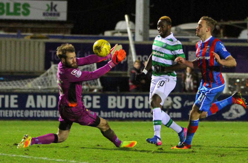 March 1st 2017, Caledonian Stadium, Inverness, Scotland; SPL Scottish football league, Inverness Caledonian Thistle versus Celtic FC; Moussa Dembele dinks the ball past Owain Fon Williams to make it 4-0 to Celtic (Photo by Vagelis Georgariou/Action Plus via Getty Images)