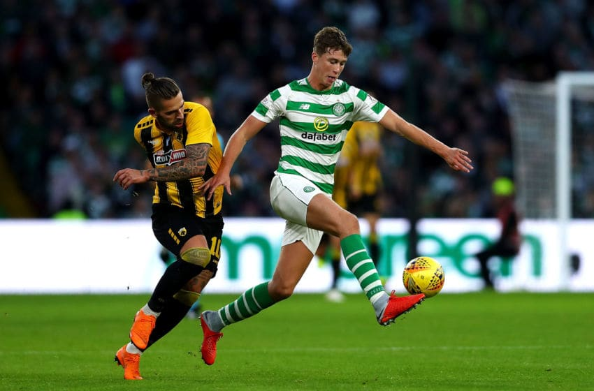 GLASGOW, SCOTLAND - AUGUST 08: Marko Livaja of AEK Athens (L) and Jack Hendry of Celtic in action during the UEFA Champions League Qualifier between Celtic and AEK Athens at Celtic Park Stadium on August 8, 2018 in Glasgow, Scotland. (Photo by Naomi Baker/Getty Images)