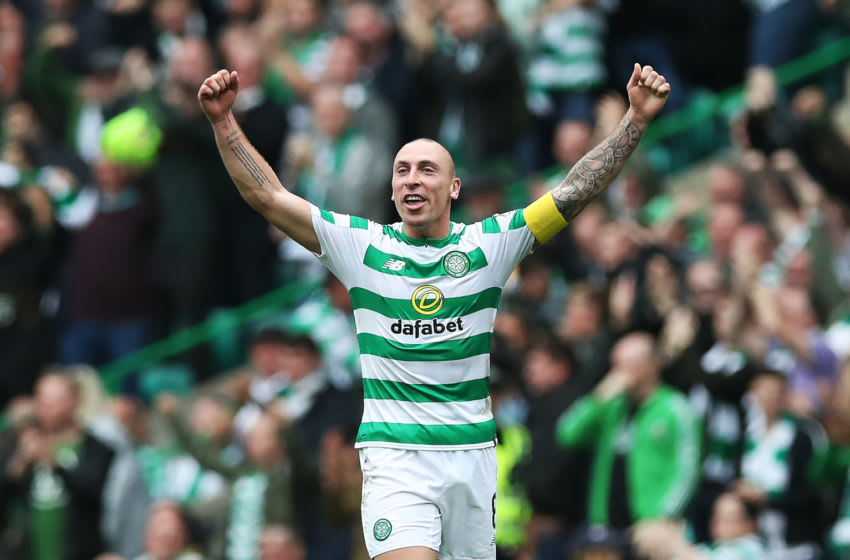 GLASGOW, SCOTLAND - SEPTEMBER 02: Scott Brown of Celtic reacts at full time during the Scottish Premier League between Celtic and Rangers at Celtic Park Stadium on September 2, 2018 in Glasgow, Scotland. (Photo by Ian MacNicol/Getty Images)