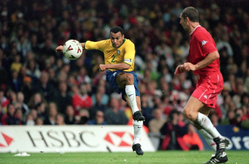 23 May 2000: Cafu scores the second for Brazil during the International Friendly match against Wales at the Millennium Stadium in Cardiff, Wales. Brazil won the match 3-0. (Mandatory Credit: Stu Forster /Allsport)
