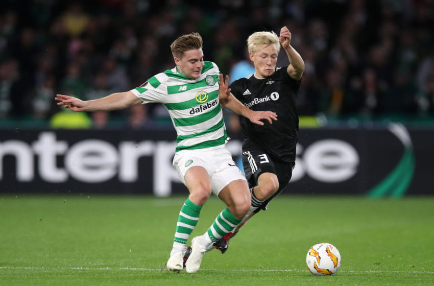 GLASGOW, SCOTLAND - SEPTEMBER 20: James Forrest of Celtic is challenges Birger Meling of Rosenborg BK during the UEFA Europa League Group B match between Celtic and Rosenborg at Celtic Park on September 20, 2018 in Glasgow, United Kingdom. (Photo by Ian MacNicol/Getty Images)