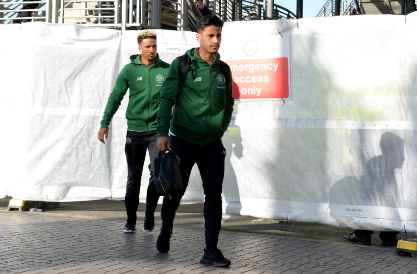 EDINBURGH, SCOTLAND - OCTOBER 28: Daniel Arzani and Scott Sinclair of Celtic during the Betfred Scottish League Cup Semi Final between Heart of Midlothian FC and Celtic FC on October 28, 2018 in Edinburgh, Scotland. (Photo by Mark Runnacles/Getty Images)