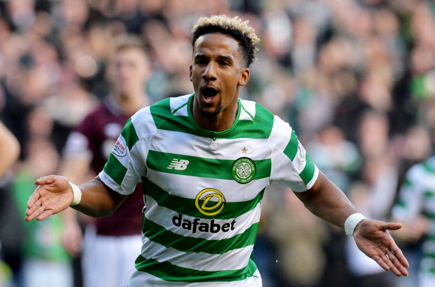 EDINBURGH, SCOTLAND - OCTOBER 28: Scott Sinclair of Celtic celebrates scoring his teams first goal during the Betfred Scottish League Cup Semi Final between Heart of Midlothian FC and Celtic FC on October 28, 2018 in Edinburgh, Scotland. (Photo by Mark Runnacles/Getty Images)