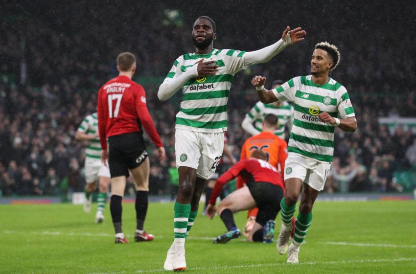GLASGOW, SCOTLAND - DECEMBER 08: Odsonne Edouard of Celtic celebrates after he scores his team's second goal during the Scottish Ladbrokes Premiership match Celtic and Kilmarnock at Celtic Park Stadium on December 8, 2018 in Glasgow, Scotland. (Photo by Ian MacNicol/Getty Images)