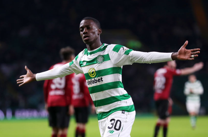 GLASGOW, SCOTLAND - JANUARY 23: Timothy Weah of Celtic celebrates scoring his team'St Mirren fourth goal during the Ladbrokes Scottish Premiership match between Celtic and St Mirren at Celtic Park on January 23, 2019 in Glasgow, Scotland. (Photo by Ian MacNicol/Getty Images)