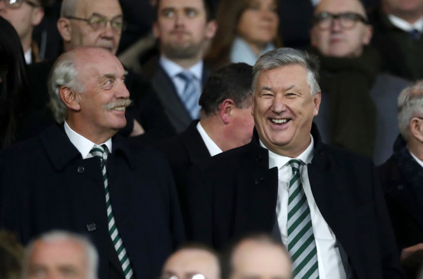 GLASGOW, SCOTLAND - FEBRUARY 14: Dermot Desmond is seen with Peter Lawwell the chief executive of Celtic FC during the UEFA Europa League Round of 32 First Leg match between Celtic and Valencia at Celtic Park on February 14, 2019 in Glasgow, Scotland, United Kingdom. (Photo by Ian MacNicol/Getty Images)