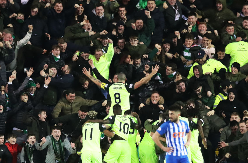 KILMARNOCK, SCOTLAND - FEBRUARY 17; Scott Brown of Celtic celebrates after he scores the winning goal during he Scottish Ladbrokes Premiership match between Kilmarnock and Celtic at Rugby Park on February 17, 2019 in Kilmarnock, Scotland. (Photo by Ian MacNicol/Getty Images)
