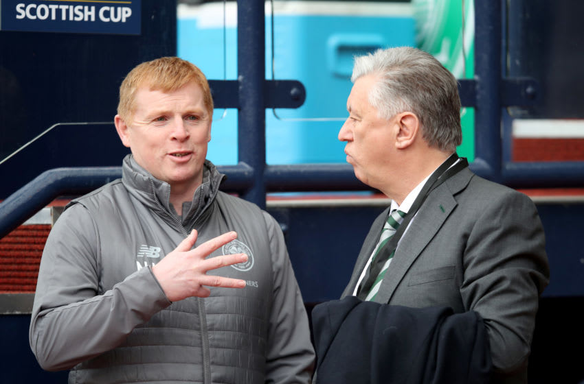 GLASGOW, SCOTLAND - APRIL 14: Neil Lennon the manager of Celtic with Peter Lawwell, Chief Executive of Celtic brfore the Scottish Cup semi-final between Aberdeen and Celtic at Hampden Park on April 14, 2019 in Glasgow, Scotland. (Photo by Ian MacNicol/Getty Images)