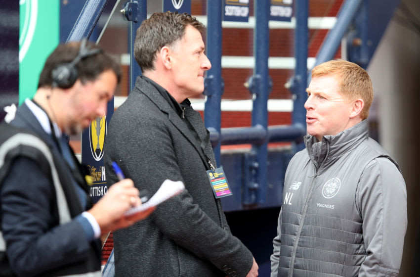 GLASGOW, SCOTLAND - APRIL 14: TV pundit Chris Sutton talking to Neil Lennon the manager of Celtic before the Scottish Cup semi-final between Aberdeen and Celtic at Hampden Park on April 14, 2019 in Glasgow, Scotland. (Photo by Ian MacNicol/Getty Images)