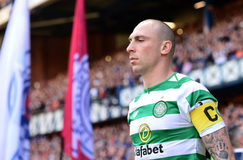 GLASGOW, SCOTLAND - MAY 12: Scott Brown of Celtic walk out onto the pitch during the Ladbrokes Scottish Premiership match between Rangers and Celtic at Ibrox Stadium on May 12, 2019 in Glasgow, Scotland. (Photo by Mark Runnacles/Getty Images)