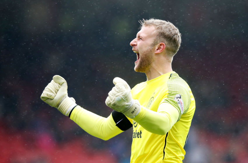 ABERDEEN, SCOTLAND - MAY 04: Scott Bain of Celtic celebrates his sides second goal during the Ladbrokes Scottish Premiership match between Aberdeen and Celtic at Pittodrie Stadium on May 04, 2019 in Aberdeen, Scotland. (Photo by Ian MacNicol/Getty Images)