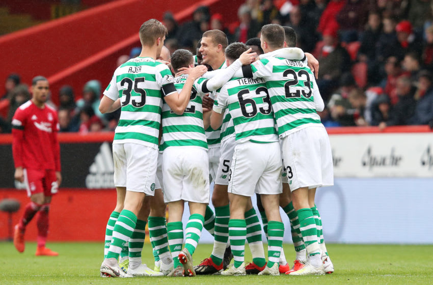 ABERDEEN, SCOTLAND - MAY 04: Jozo Simunovic of Celtic celebrates scoring his sides second goal during the Ladbrokes Scottish Premiership match between Aberdeen and Celtic at Pittodrie Stadium on May 04, 2019 in Aberdeen, Scotland. (Photo by Ian MacNicol/Getty Images)