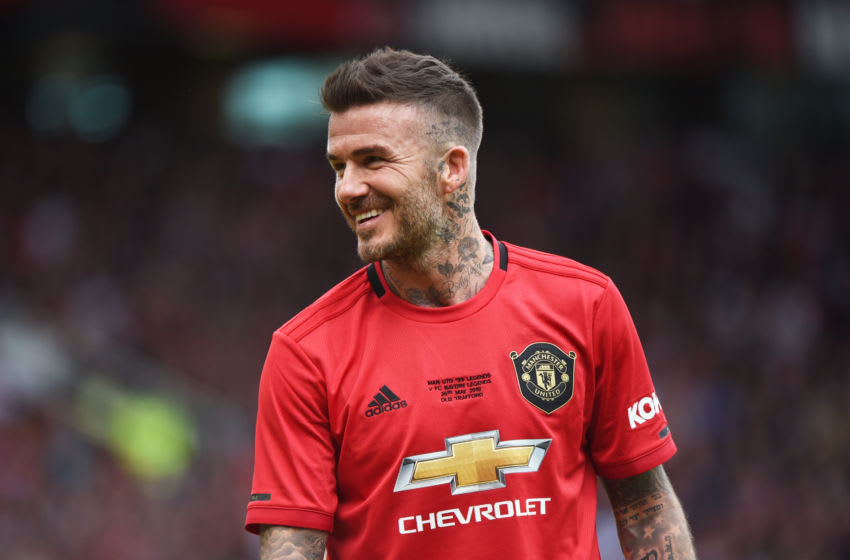 MANCHESTER, ENGLAND - MAY 26: David Beckham of Manchester United Legends looks on during the Manchester United '99 Legends and FC Bayern Legends at Old Trafford on May 26, 2019 in Manchester, England. (Photo by Nathan Stirk/Getty Images)