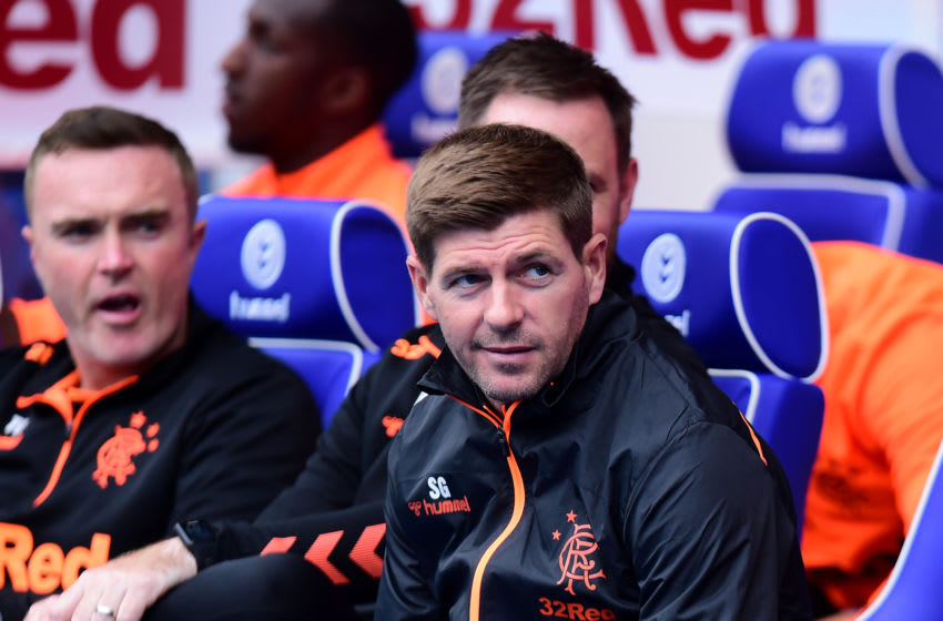 GLASGOW, SCOTLAND - JULY 21: Steven Gerrard, manager of Rangers on the side line during the Pre-Season Friendly between Rangers FC and Blackburn Rovers at Ibrox Stadium on July 21, 2019 in Glasgow, Scotland. (Photo by Mark Runnacles/Getty Images)