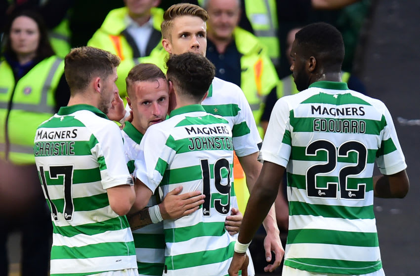 GLASGOW, SCOTLAND - JULY 24: Lee Griffiths of Celtic celebrates scoring with his teammates during the UEFA Champions League Second Qualifying round 1st Leg match between Celtic v Nomme Kalju FC at Celtic Park on July 24, 2019 in Glasgow, Scotland. (Photo by Mark Runnacles/Getty Images)