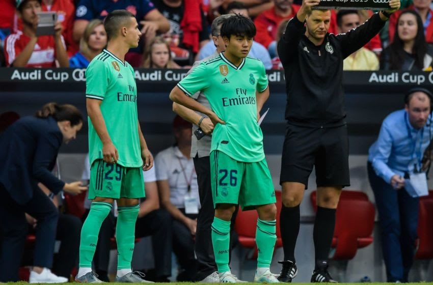 (L-R) Jaime Seoane of Real Madrid CF, Takefusa Kubo of Real Madrid CF during the Pre-season Friendly match between Real Madrid and Fenerbahce SK at Allianz Arena on July 31, 2019 in Munich, Germany(Photo by VI Images via Getty Images)