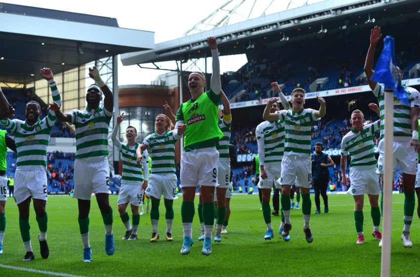 GLASGOW, SCOTLAND - SEPTEMBER 01: The Celtic team celebrate at the final whistle as they beat Rangers 2-0 during the Ladbrokes Premiership match between Rangers and Celtic at Ibrox Stadium on September 1, 2019 in Glasgow, Scotland. (Photo by Mark Runnacles/Getty Images)