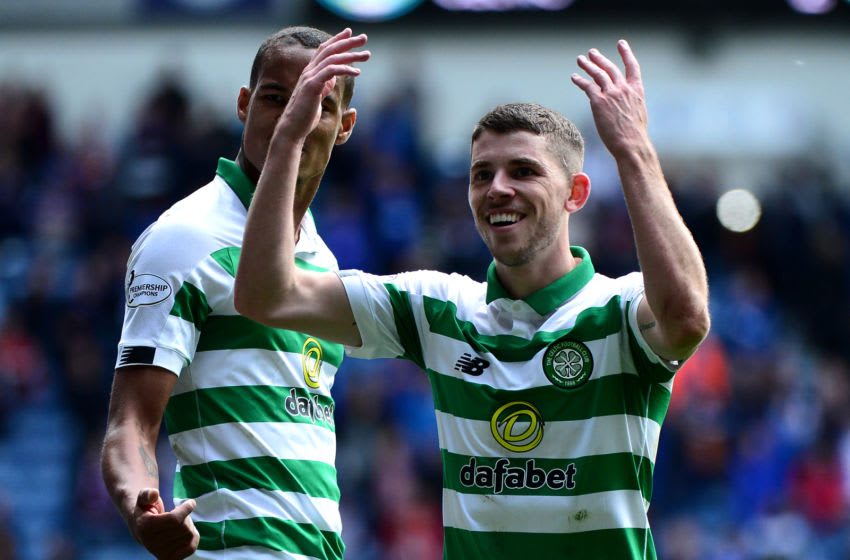 GLASGOW, SCOTLAND - SEPTEMBER 01: Ryan Christie of Celtic celebrates in front of the Celtic fans at the final whistle as Celtic beat Rangers 2-0 during the Ladbrokes Premiership match between Rangers and Celtic at Ibrox Stadium on September 1, 2019 in Glasgow, Scotland. (Photo by Mark Runnacles/Getty Images)