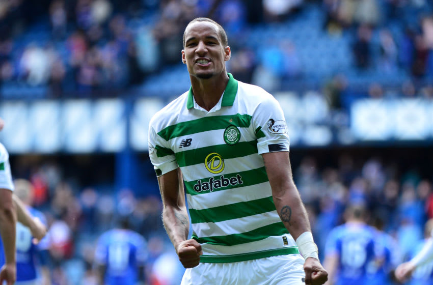GLASGOW, SCOTLAND - SEPTEMBER 01: Christopher Jullien of Celtic celebrates in front of the Celtic fans at the final whistle as Celtic beat Rangers 2-0 during the Ladbrokes Premiership match between Rangers and Celtic at Ibrox Stadium on September 1, 2019 in Glasgow, Scotland. (Photo by Mark Runnacles/Getty Images)
