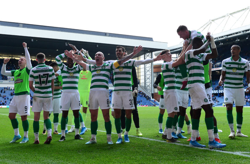 GLASGOW, SCOTLAND - SEPTEMBER 01: Scott Brown and the Celtic team celebrate at the final whistle as they beat Rangers 2-0 during the Ladbrokes Premiership match between Rangers and Celtic at Ibrox Stadium on September 1, 2019 in Glasgow, Scotland. (Photo by Mark Runnacles/Getty Images)
