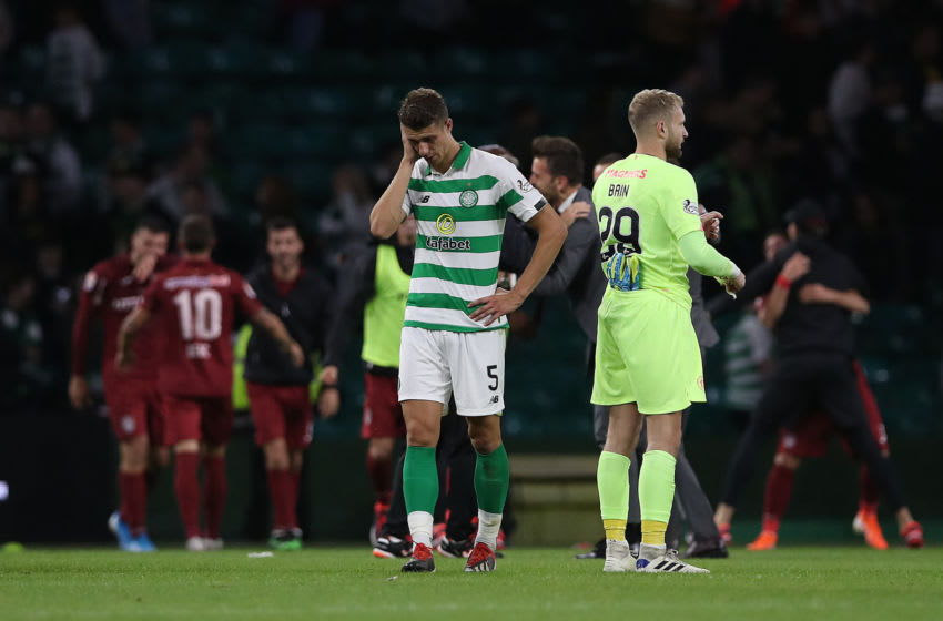 GLASGOW, SCOTLAND - AUGUST 13: Jozo Simunovic of Celtic reacts at full time during the UEFA Champions League, third qualifying round, second leg match between Celtic and CFR Cluj at Celtic Park on August 13, 2019 in Glasgow, Scotland. (Photo by Ian MacNicol/Getty Images)