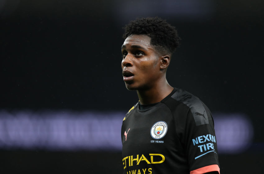 LONDON, ENGLAND - AUGUST 16: Jeremie Frimpong of Manchester City looks on during the Premier League 2 match between Tottenham and Manchester City at Tottenham Hotspur Stadium on August 16, 2019 in London, England. (Photo by Naomi Baker/Getty Images)