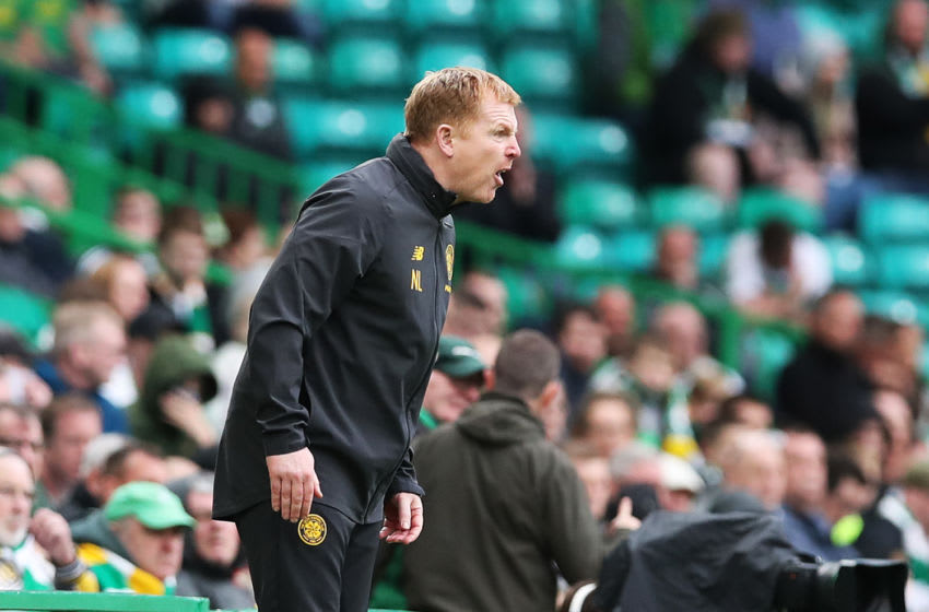 GLASGOW, SCOTLAND - AUGUST 17: Celtic Manager Neil Lennon reacts during the Betfred League Cup match between Celtic and Dunfermline Athletic at Celtic Park on August 17, 2019 in Glasgow, Scotland. (Photo by Ian MacNicol/Getty Images)