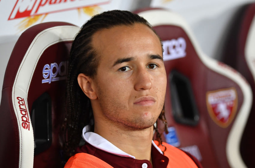 TURIN, ITALY - SEPTEMBER 16: Diego Laxalt of Torino FC sits on the bench during the Serie A match between Torino FC and US Lecce at Stadio Olimpico di Torino on September 16, 2019 in Turin, Italy. (Photo by Valerio Pennicino/Getty Images)