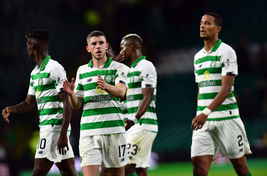 GLASGOW, SCOTLAND - AUGUST 22: Ryan Christie of Celtic applauds fans at the final whistle of the UEFA Europa League Play Off First Leg match between Celtic and AIK at Celtic Park on August 22, 2019 in Glasgow, United Kingdom. (Photo by Mark Runnacles/Getty Images)