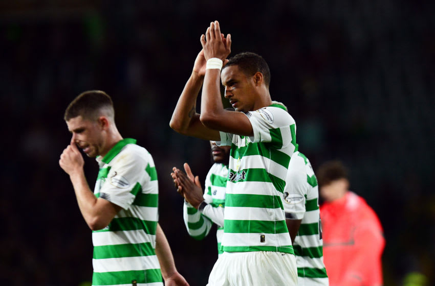 GLASGOW, SCOTLAND - AUGUST 22: Christopher Jullien of Celtic applauds fans at the final whistle of the UEFA Europa League Play Off First Leg match between Celtic and AIK at Celtic Park on August 22, 2019 in Glasgow, United Kingdom. (Photo by Mark Runnacles/Getty Images)