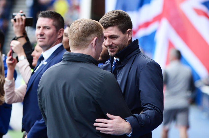 GLASGOW, SCOTLAND - SEPTEMBER 01: Steven Gerrard, Manager of Rangers FC (R) greets Neil Lennon, Manager of Celtic prior to the Ladbrokes Premiership match between Rangers and Celtic at Ibrox Stadium on September 01, 2019 in Glasgow, Scotland. (Photo by Mark Runnacles/Getty Images)