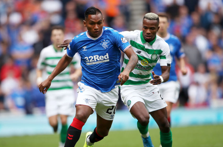 GLASGOW, SCOTLAND - SEPTEMBER 01: Alfredo Morelos of Rangers FC is challenged by Boli Bolingoli of Celtic during the Ladbrokes Premiership match between Rangers and Celtic at Ibrox Stadium on September 01, 2019 in Glasgow, Scotland. (Photo by Ian MacNicol/Getty Images)