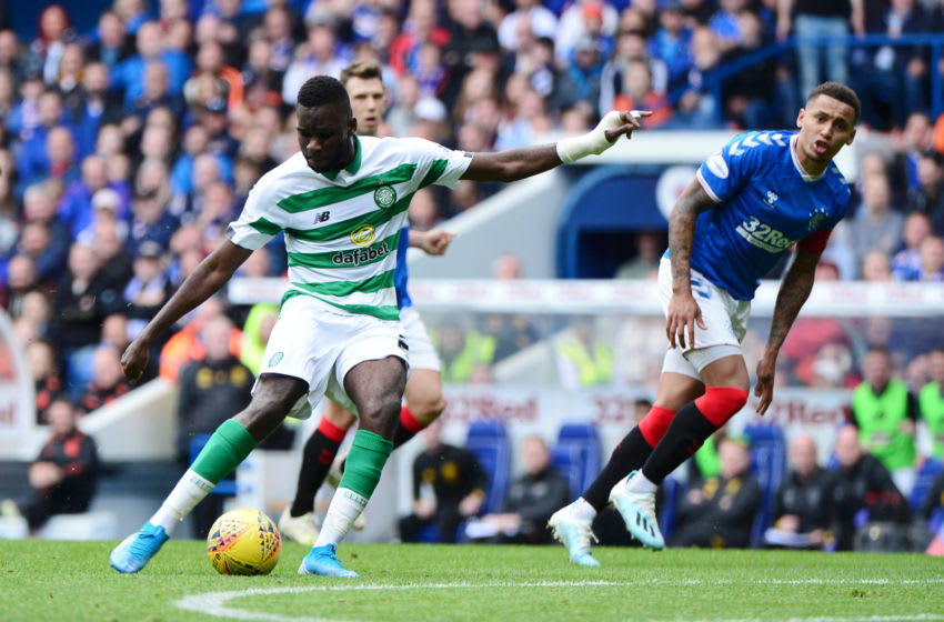 GLASGOW, SCOTLAND - SEPTEMBER 01: Odsonne Edouard of Celtic shoots and misses during the Ladbrokes Premiership match between Rangers and Celtic at Ibrox Stadium on September 01, 2019 in Glasgow, Scotland. (Photo by Mark Runnacles/Getty Images)