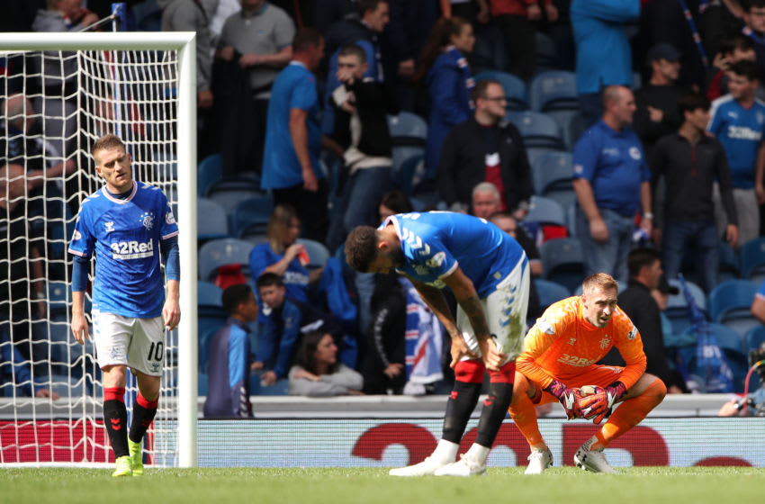 GLASGOW, SCOTLAND - SEPTEMBER 01: Allan McGregor of Rangers FC looks dejected during the Ladbrokes Premiership match between Rangers and Celtic at Ibrox Stadium on September 01, 2019 in Glasgow, Scotland. (Photo by Ian MacNicol/Getty Images)