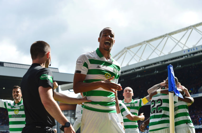 GLASGOW, SCOTLAND - SEPTEMBER 01: Christopher Jullien of Celtic celebrates after scoring his team's third goal during the Ladbrokes Premiership match between Rangers and Celtic at Ibrox Stadium on September 01, 2019 in Glasgow, Scotland. (Photo by Mark Runnacles/Getty Images)