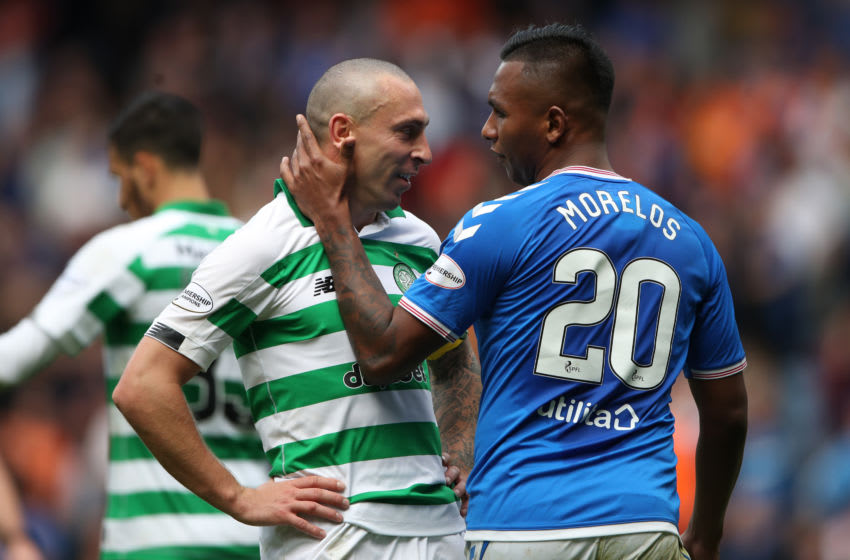 GLASGOW, SCOTLAND - SEPTEMBER 01: Celtic captain Scott Brown interacts with Alfredo Morelos of Rangers during the Ladbrokes Premiership match between Rangers and Celtic at Ibrox Stadium on September 01, 2019 in Glasgow, Scotland. (Photo by Ian MacNicol/Getty Images)