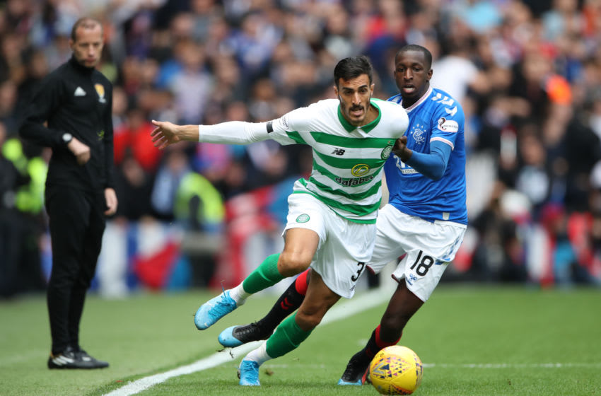 GLASGOW, SCOTLAND - SEPTEMBER 01: Hatem Abd Elhamed of Celtic vies with Glen Kamara of Rangers during the Ladbrokes Premiership match between Rangers and Celtic at Ibrox Stadium on September 01, 2019 in Glasgow, Scotland. (Photo by Ian MacNicol/Getty Images)