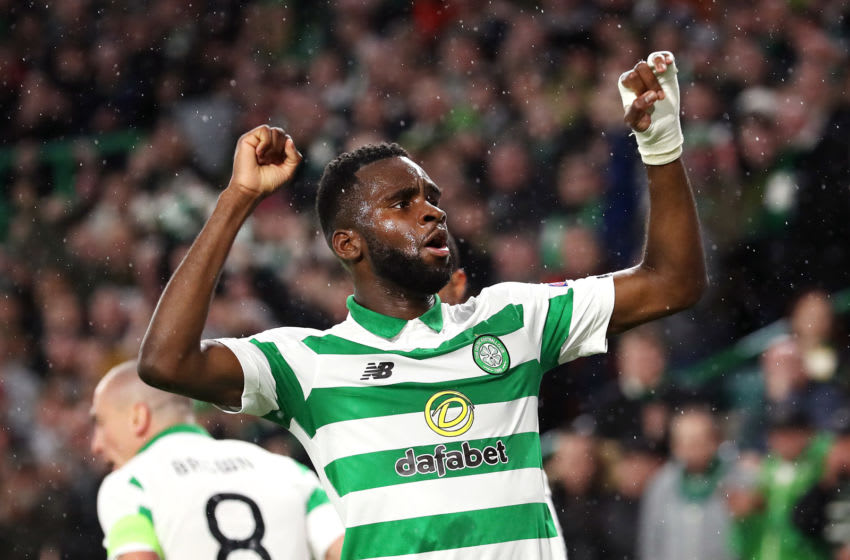 GLASGOW, SCOTLAND - OCTOBER 03: Odsonne Edouard of Celtic celebrates after scoring his team's first goal during the UEFA Europa League group E match between Celtic FC and CFR Cluj at Celtic Park on October 03, 2019 in Glasgow, United Kingdom. (Photo by Ian MacNicol/Getty Images)