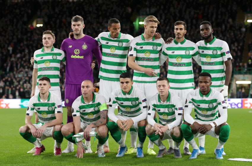 GLASGOW, SCOTLAND - OCTOBER 24: Celtic line up prior to the UEFA Europa League group E match between Celtic FC and Lazio Roma at Celtic Park on October 24, 2019 in Glasgow, United Kingdom. (Photo by Ian MacNicol/Getty Images)