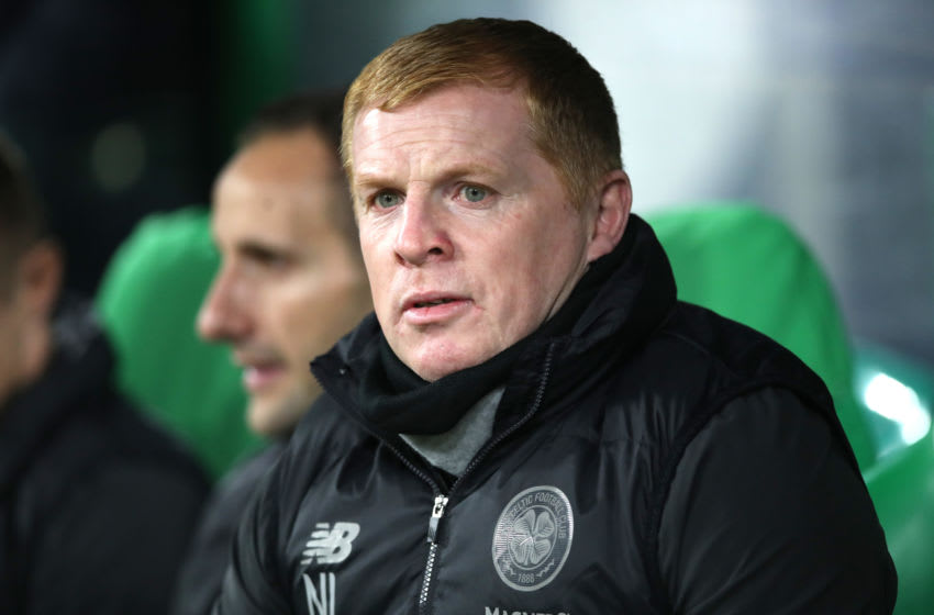 GLASGOW, SCOTLAND - OCTOBER 24: Neil Lennon, Manager of Celtic looks on prior to the UEFA Europa League group E match between Celtic FC and Lazio Roma at Celtic Park on October 24, 2019 in Glasgow, United Kingdom. (Photo by Ian MacNicol/Getty Images)