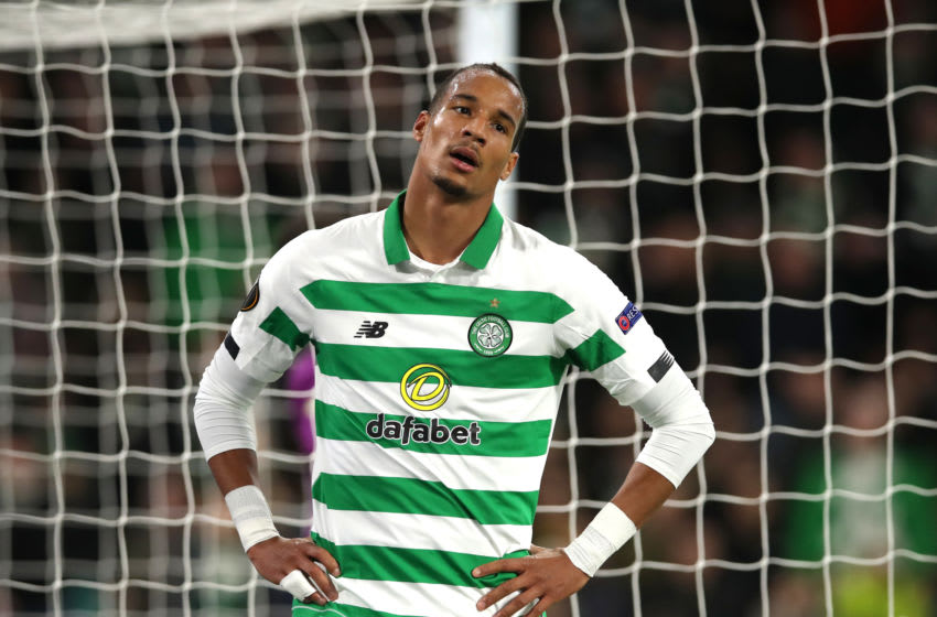 GLASGOW, SCOTLAND - OCTOBER 24: Christopher Jullien of Celtic reacts after Manuel Lazzari of Lazio scored his team's first goal during the UEFA Europa League group E match between Celtic FC and Lazio Roma at Celtic Park on October 24, 2019 in Glasgow, United Kingdom. (Photo by Ian MacNicol/Getty Images)
