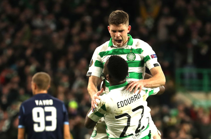 GLASGOW, SCOTLAND - OCTOBER 24: Ryan Christie of Celtic celebrates after scoring his team's first goal with Odsonne Edouard of Celtic during the UEFA Europa League group E match between Celtic FC and Lazio Roma at Celtic Park on October 24, 2019 in Glasgow, United Kingdom. (Photo by Ian MacNicol/Getty Images)