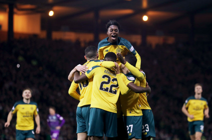 GLASGOW, SCOTLAND - NOVEMBER 02: Jeremie Frimpong of Celtic celebrates his teams second goal with his teammates during the Betfred Cup Semi-Final match between Hibernan and Celtic at Hampden Park on November 02, 2019 in Glasgow, Scotland. (Photo by Ian MacNicol/Getty Images)