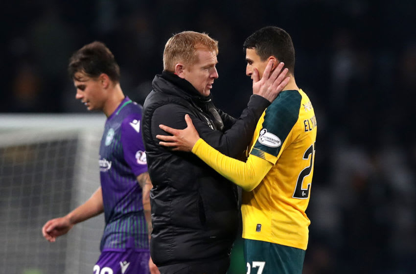 GLASGOW, SCOTLAND - NOVEMBER 02: Neil Lennon, Manager of Celtic embraces Mohamed Elyounoussi after the Betfred Cup Semi-Final match between Hibernan and Celtic at Hampden Park on November 02, 2019 in Glasgow, Scotland. (Photo by Ian MacNicol/Getty Images)