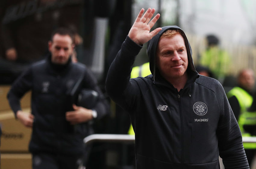 GLASGOW, SCOTLAND - NOVEMBER 23: Celtic Manager Neil Lennon arrives prior to the Ladbrokes Premiership match between Celtic and Livingston at Celtic Park on November 23, 2019 in Glasgow, Scotland. (Photo by Ian MacNicol/Getty Images)