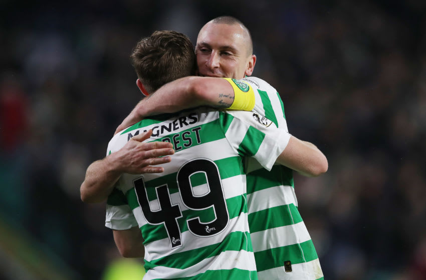 GLASGOW, SCOTLAND - NOVEMBER 23: James Forrest of Celtic celebrates with Celtic captain Scott Brown after scoring his team's fourth goal during the Ladbrokes Premiership match between Celtic and Livingston at Celtic Park on November 23, 2019 in Glasgow, Scotland. (Photo by Ian MacNicol/Getty Images)